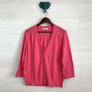 LOFT Warm Pink Slub Knit Button Up Cardigan